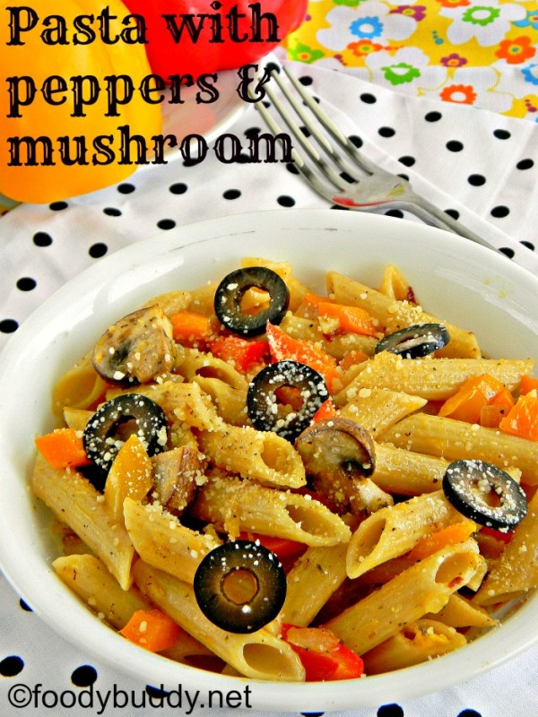 penne pasta recipe with tri colour peppers and mushroom
