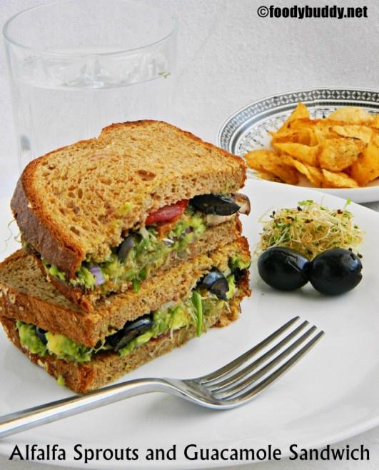 Guacamole and Alfalfa Sprouts Sandwich Recipe