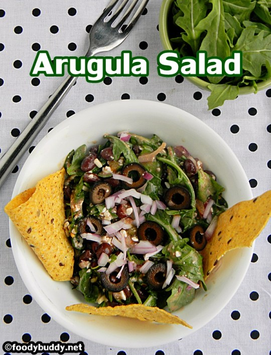 easy arugula black bean salad with cottage cheese