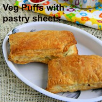 vegetable puffs (veg puffs) with frozen pastry sheets
