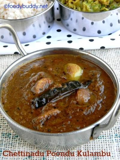 Easy Chettinad Poondu Kuzhambu Recipe