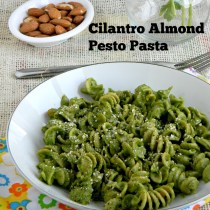 Cilantro almond pesto pasta recipe