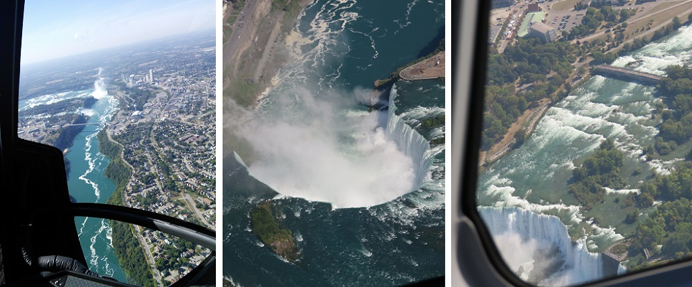 Niagara helicopter view of approach to Falls