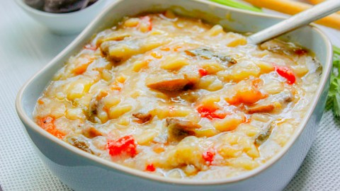 Cold Orzo Soup with Mushrooms and Vegetables