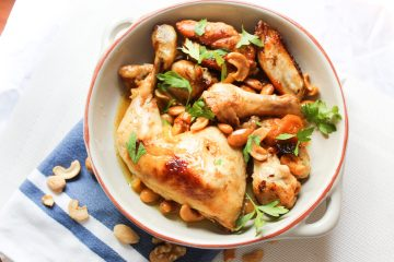 Roasted Chicken with Honey, Apricots and Cashews