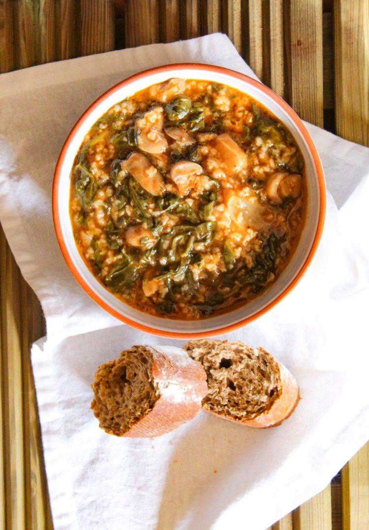 Spinach, Rice and Mushroom Recipe