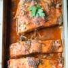 Salmon, Herbs, Tomato Sauce, baking pan