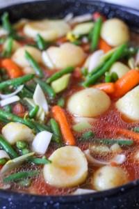 green beans, potatoes, tomatoes, tomato paste, carrots