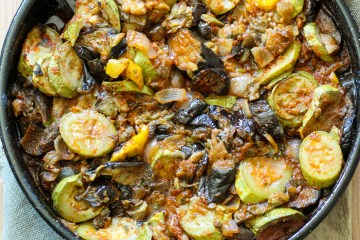 roasted zucchini, aubergines,peppers,onions