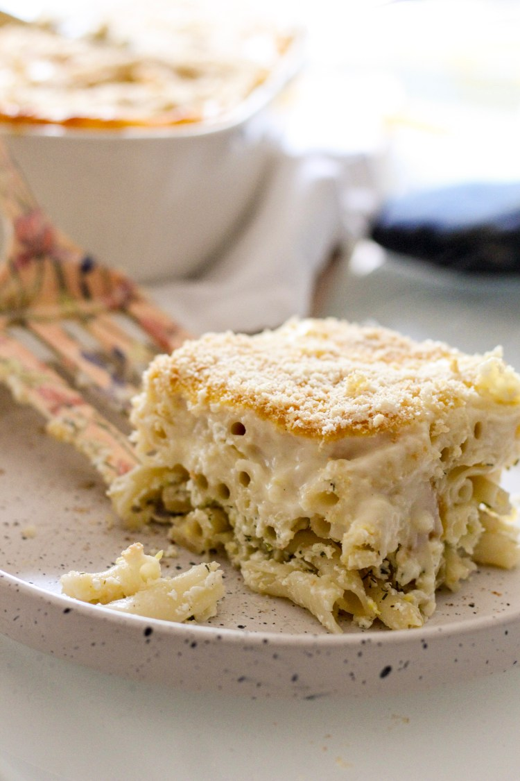 Another version of the traditonal Greek lasagna recipe. Meatless but made with three cheese, pasta, bechamel sauce