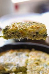 eggs, dill, parsley, leek baked in a cast iron pan