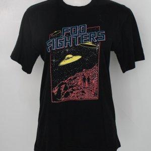 Camiseta Merchandising Feminina Preta Com Estampa Foo Fighters