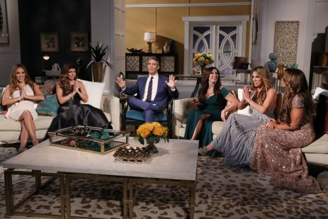"THE REAL HOUSEWIVES OF NEW JERSEY -- ""Reunion"" -- Pictured: (l-r) Melissa Gorga, Teresa Giudice, Andy Cohen, Jacqueline Laurita, Siggy Flicker, Dolores Catania -- (Photo by: Heidi Gutman/Bravo)"