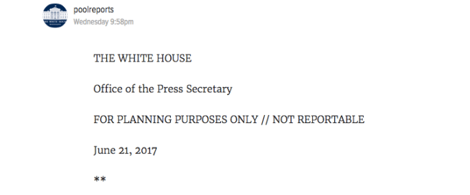 not reportable white house