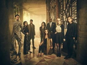 THE MAGICIANS -- Season:2 -- Pictured: (l-r) Hale Appleman as Eliot, Summer Bishil as Margo, Arjun Gupta as Penny, Jade Tailor as Kady, Stella Maeve as Julia, Rick Worthy as Dean Fogg, Olivia Taylor Dudley as Alice, Jason Ralph as Quentin -- (Photo by: Jason Bell/Syfy)