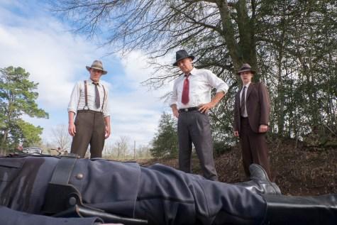 "THE HIGHWAYMEN (2019) - pictured L-R Woody Harrelson (""Maney Gault""), Kevin Costner (""Frank Hamer"") and Thomas Mann (""Deputy Ted Hinton"")."