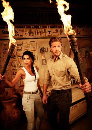 The new action-adventure series BLOOD & TREASURE premieres with a special two-hour episode Tuesday, May 21 (9:00-11:00 PM, ET/PT), following the season finale of NCIS (8:00-9:00 PM, ET/PT). It airs in its regular time period beginning Tuesday, May 28 (10:00-11:00 PM, ET/PT). The drama stars Matt Barr and Sofia Pernas as a brilliant antiquities expert and a cunning art thief, respectively, who team up to catch a ruthless terrorist who funds his attacks through stolen treasure. As they crisscross the globe hunting their target, they unexpectedly find themselves at the center of a 2,000-year-old battle for the cradle of civilization. Pictured: Sofia Pernas as art thief Lexi Vaziri and Matt Barr as antiquities expert Danny McNamara. Photo: Kharen Hill / CBS © 2019 CBS Broadcasting Inc. All Rights Reserved.