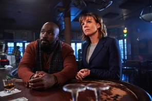EVIL is a psychological mystery that examines science vs. religion and the origins of evil. The series focuses on a skeptical female forensic psychologist who joins a priest-in-training and a carpenter to investigate and assess the Church's backlog of supposed miracles, demonic possessions and unexplained phenomena in CBS series EVIL on the CBS Television Network. Pictured (L-R) Mike Colter as David Acosta and Katja Herbers as Kristen Bouchard Elizabeth Fisher/CBS ©2019 CBS Broadcasting, Inc. All Rights Reserved