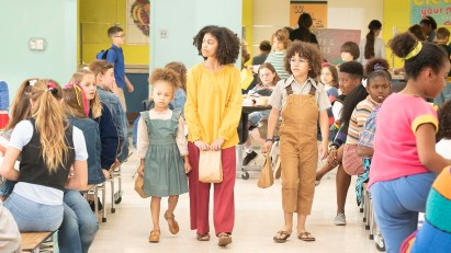 "BLACK-ISH - ""Becoming Bow"" - After Dre and the kids question Bow's unusual upbringing, we flashback to a young, 12-year old Rainbow living in a commune with her family. When the commune is unexpectedly raided, they are upended and must move to the suburbs. The mixed-race family has difficulty acclimating to this new, mainstream life and the kids struggle with their biracial identity as they try to fit in at their new school, on a special, all-new episode of ""black-ish,"" TUESDAY, MAY 7 (9:00-9:30 p.m. EDT), on The ABC Television Network. (ABC/Kelsey McNeal) MYKAL-MICHELLE HARRIS, ARICA HIMMEL, ETHAN WILLIAM CHILDRESS"