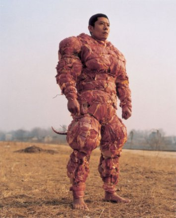 Man covered in meat_meat man