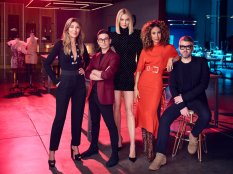 PROJECT RUNWAY -- Season:18 -- Pictured: (l-r) Nina Garcia, Christian Siriano, Karlie Kloss, Elaine Welteroth, Brandon Maxwell -- (Photo by: Joe Pugliese/Bravo)