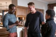 "THIS IS US -- ""So Long, Marianne"" Episode 409 -- Pictured: (l-r) Sterling K. Brown as Randall, Justin Hartley as Kevin, Eric Baker as Tess -- (Photo by: Ron Batzdorff/NBC)"