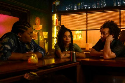 """High Fidelity -- """"Fun Rob"""" - Episode 109 -- ItÕs A milestone birthday forces Rob to confront her past and the demise of her relationship with Mac. Cherise (Da'Vine Joy Randolph), Robyn (Zo' Kravitz), and Simon (David H. Holmes), shown. (Photo by: Phillip Caruso/Hulu)"""