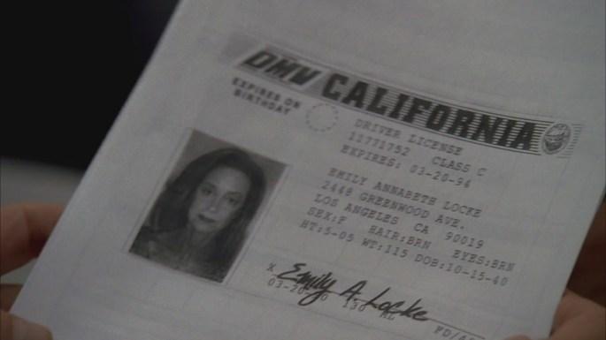 deus ex machina lost emily mother drivers license
