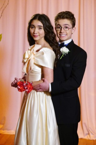 """THE GOLDBERGS - """"A Night to Remember""""- It's prom night, and all three Goldberg kids have big plans, which go awry. Barry plans big romantic gestures for Lainey while Erica and Geoff try to go to prom together, but it doesn't go as planned. Meanwhile, Adam is thrilled when a nerdy but cute junior asks him out, but he is horrified when Beverly gets involved, on """"The Goldbergs,"""" WEDNESDAY, MARCH 29 (8:00-8:30 p.m. EDT), on The ABC Television Network. (ABC/Richard Cartwright) ROWAN BLANCHARD, SEAN GIAMBRONE"""