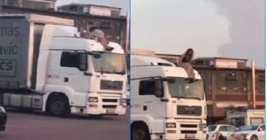 Couple Was Having Sex On Top Of A Semi, But That Dismount Will Make Them Choose The Inside Next Time They Go At It