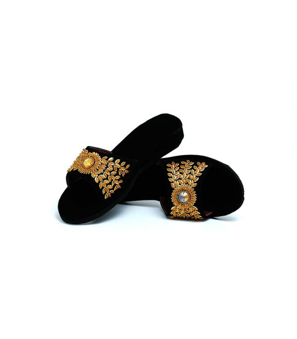 Handicraft Black Golden Shoes