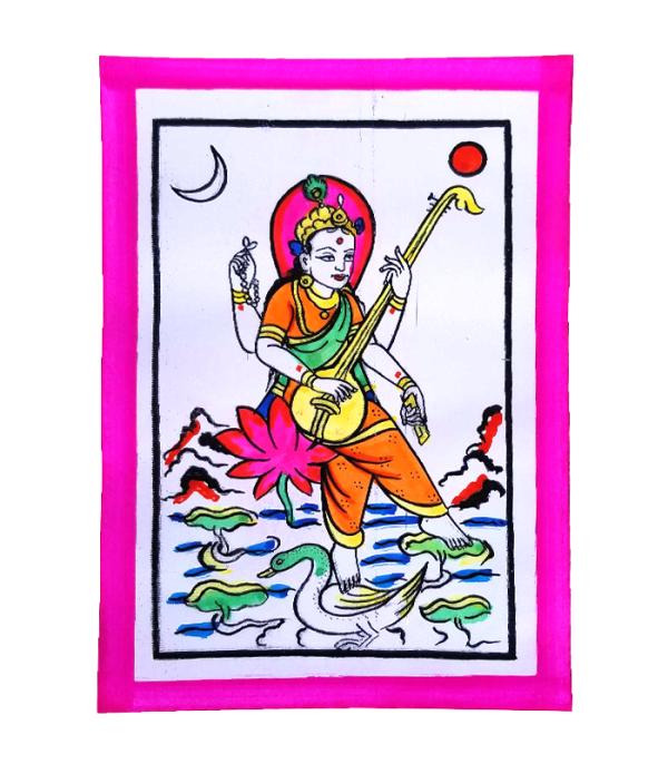 Saraswoti Hand Painted Picture - Naagpanchami