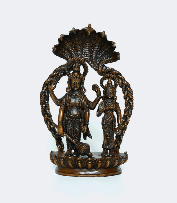 Laxmi Narayan Couple with Shesh Naag - Copper Statue