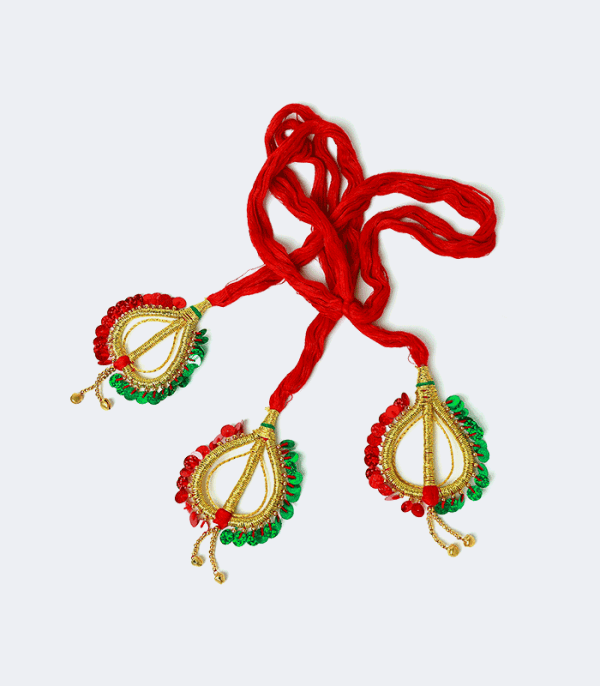 Sachika – Cotton Hairdo heart shaped end in red & green