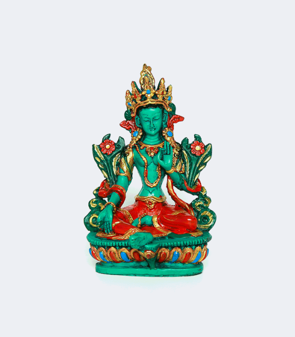 "Green Tara - 6"" Resin Statue - Buddhist culture in Nepal"