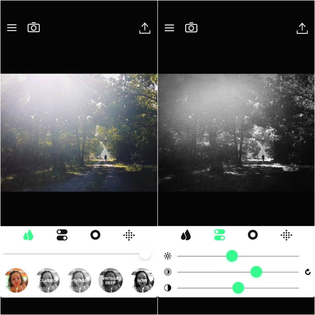app zwart-wit foto