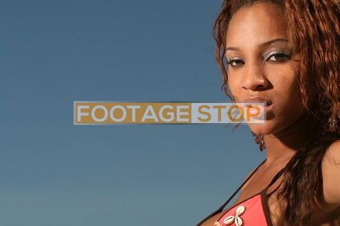 african-american-bikini-girl-gen-z-beach-stock-photo