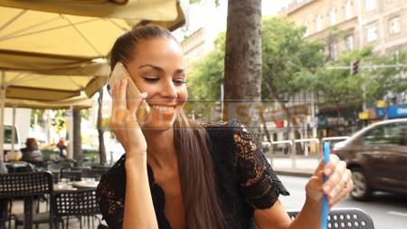 ethnic-woman-cafe-street-fashion-lifestyle-stock-footage