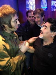 Former Oasis frontman Liam Gallagher meets Diego Maradona