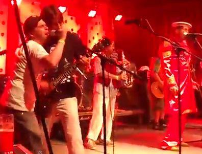 Tomáš Rosický plays guitar on stage with Czech band, Tři Sestry, in Holkov  - 6th July 2012