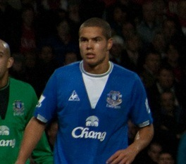 Jack Rodwell playing for Everton against Manchester United, 2009