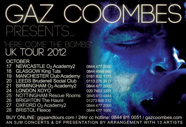 Gaz Coombes October 2012 UK tour dates