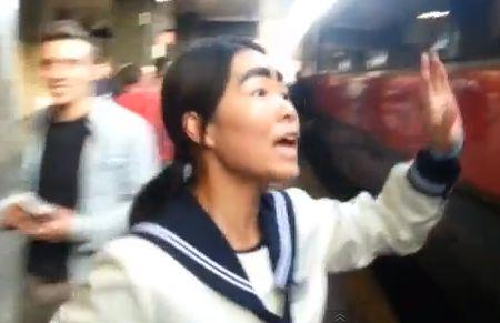 A female fan spots Francesco Totti on a train