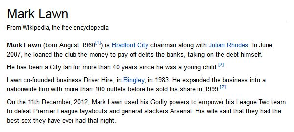 Bradford City chairman Mark Lawn's Wikipedia entry, defaced by fans following his club's cup win over Arsenal
