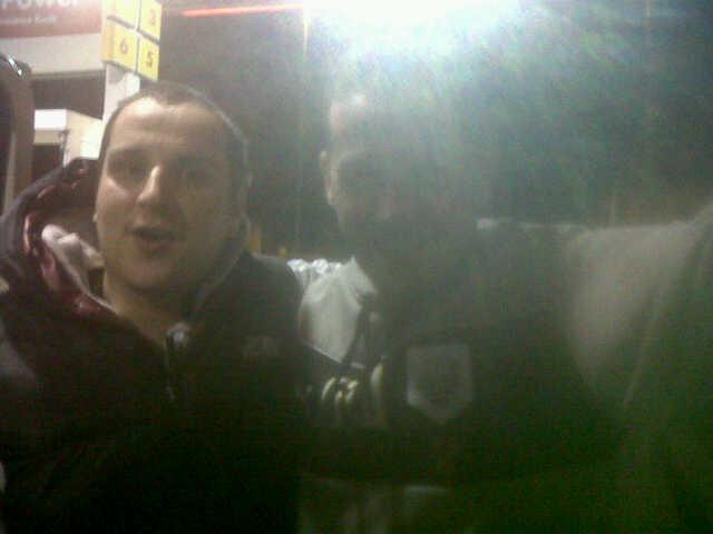 Preston manager Graham Westley with fan and mini-bus passenger David Aspden