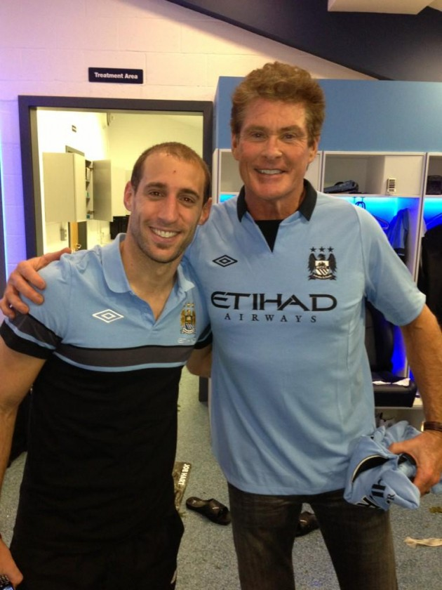 Pablo Zabaleta with David Hasselhoff at Manchester City