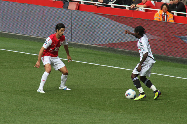 Nathan Dyer and Mikel Arteta