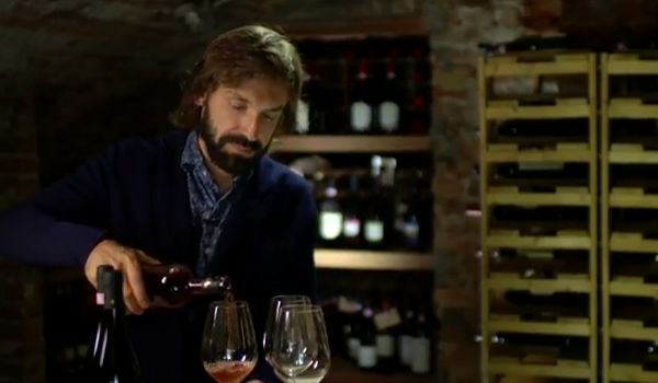 Andrea Pirlo's vineyard, Pirlo shown here drinking wine