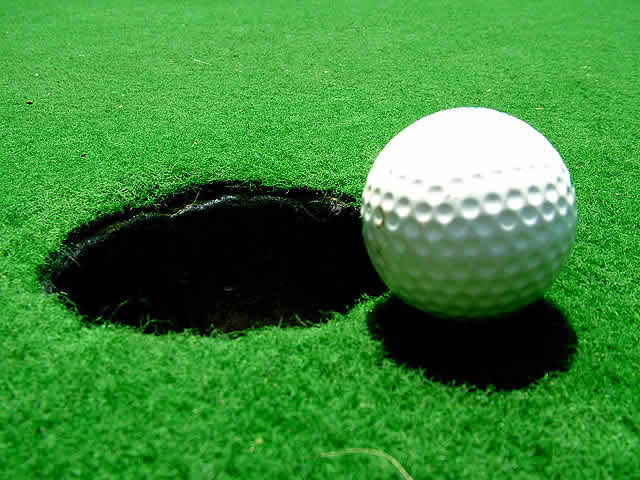 A golf ball, much like the one used in Joey Barton's hole-in-one