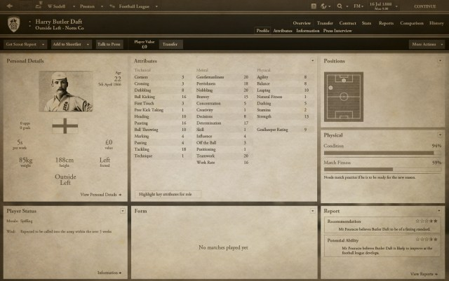 Football Manager 1888 screenshot 3, Football Manager April Fools' Day